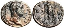 """Ancient Coins - Good VF Hadrian AE As """"Roma Holding Cornucopiae & Spear"""" RIC 716"""