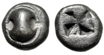 "Ancient Coins - Boeotia, Thebes Silver Drachm ""Boeotian Shield & Incuse Mill Sail"" Scarce EF"