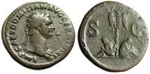 "Ancient Coins - Domitian Dupondius ""German Captive, Trophy, Germania"" Rome 85 AD RIC 295 Rare"