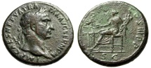 "Ancient Coins - Trajan AE Sestertius ""Concordia Seated, Sacrificing at Altar"" RIC 412 Good Fine"