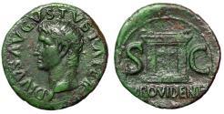 """Ancient Coins - Augustus Posthumous Dupondius """"Portrait & PROVIDENT Altar"""" Under Tiberius VF"""