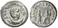 """Ancient Coins - Salonina Silvered Antoninianus """"ROMAE AETERNAE Roma & Gallienus"""" VF Scarce"""