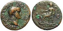 "Ancient Coins - Galba AE As 69 AD ""Portrait & Vesta Holding Palladium"" RIC 306 Good Fine"