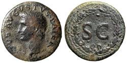 """Ancient Coins - Divus Augustus AE Dupondius Under Tiberius 22-30 AD """"SC Within Oak Wreath"""""""