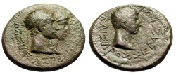 Ancient Coins - Augustus & King of Thrace Rhoemetalkes I With Queen Pythodoris AE24 11BC-12 AD