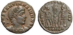 "Ancient Coins - Constantine II Caesar ""GLORIA EXERCITVS Soldiers"" Constantinople RIC 138 gVF"