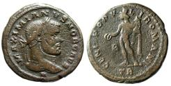"Ancient Coins - Maximian Caesar AE Follis ""H Below Bust & Genius"" Trier RIC 160b Var Very Rare"