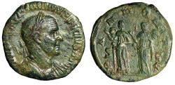 """Ancient Coins - Trajan Decius AE Sestertius """"PANNONIAE SC Two Pannoniae, Standards"""" RIC 124 gVF"""