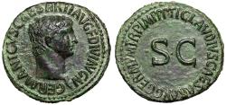 """Ancient Coins - Germanicus (Father of Caligula) AE As """"Portrait & Large SC"""" Rome 50-54 AD aEF"""