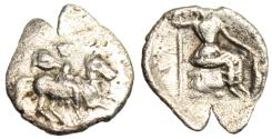 "Ancient Coins - Cilicia, Uncertain Silver Obol ""Horseman in Cloak & Athena Seated"" Rare VF"