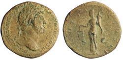 "Ancient Coins - Hadrian AE Sestertius ""MONETA AVGVSTI Moneta, Scales"" RIC 586a aVF"