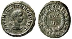 "Ancient Coins - Licinius II Caesar AE3 ""CAESARVM NOSTRORVM Votive"" Thessalonica RIC 99 Rare"