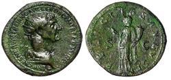 "Ancient Coins - Trajan Dupondius ""Radiate Portrait & Felicitas"" Rome 112-114 AD VF Green Patina"