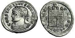 "Ancient Coins - Constantine II Caesar ""VIRTVS CAESS Campgate, Four Turrets"" Arles RIC 338 Rare"