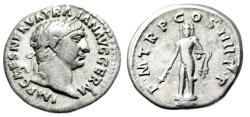 """Ancient Coins - Trajan Silver Denarius """"Hercules, Club & Lion Skin"""" Rome Mint 100 AD RIC 37 nVF"""