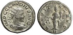 "Ancient Coins - Claudius II Gothicus Silvered Antoninianus ""Aequitas"" Antioch RIC 197 Near EF"