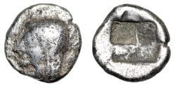 "Ancient Coins - Ionia, Kolophon AR Tetartemorion ""Archaic Apollo & Incuse Square Punch"" Fine"