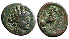 "Ancient Coins - Thrace, Lysimacheia AE21 ""Tyche & Lion Seated, Grain (or Spear)"" gVF Rare"