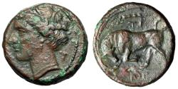 """Ancient Coins - King of Syracuse: Hieron II AE Litra """"Kore & Bull Butting, Club TI IE"""" VF"""