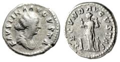"""Ancient Coins - Faustina II AR Denarius """"FECVND AVGVSTAE Fecunditas, Four Children"""" Rome RIC 676"""