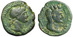 "Ancient Coins - Trajan AE26 of Laodicea ad Mare ""Veiled & Turreted Portrait of Tyche"" gF"