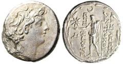 "Ancient Coins - Antiochus VIII Silver AR Tetradrachm ""Zeus Ouranios, Star"" Ptolemais Ake gVF"