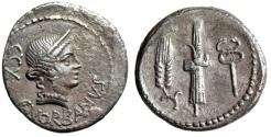 """Ancient Coins - C Norbanus AR Denarius """"Venus & Fasces, Corn & Caduceus"""" 83 BC"""