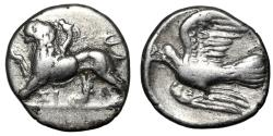 """Ancient Coins - Sikyonia, Sikyon AR Hemidrachm """"Chimera Standing & Dove Flying"""" Nice Very Fine"""