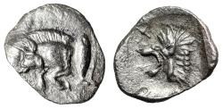 "Ancient Coins - Mysia, Kyzikos AR Tetartemorion ""Forepart Boar, Fish / Lion, Star"" Choice EF"