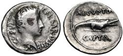 "Ancient Coins - Octavian (Augustus) AR Denarius ""AEGVPTO  CAPTA Crocodile, Egypt"" Rare"