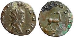 "Ancient Coins - Gallienus AE Antoninianus ""Doe Right, Head Left"" Zoo Series 267-268 AD Good VF"