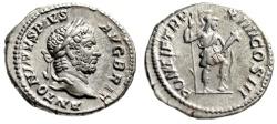 "Ancient Coins - Caracalla AR Denarius ""Virtus in War Implements"" Rome 210 AD RIC 117b gVF"