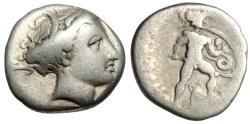 """Ancient Coins - Lokris, Lokri Opuntii Silver Hemidrachm """"Persephone & Ajax, Kantharos"""""""