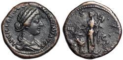 """Ancient Coins - Lucilla (Wife of Marcus Aurelius) AE Sestertius """"Vesta Standing"""" Rome RIC 1779"""