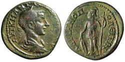 """Ancient Coins - Gordian III AE26 of Hadrianopolis, Thrace """"Athena With Spear & Shield"""" gF"""