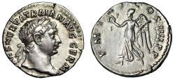 "Ancient Coins - Trajan AR Denarius 101-102 AD ""Victory With Palm"" Attractive About EF"