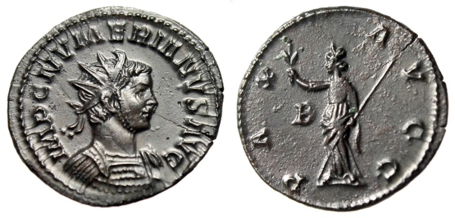 "Ancient Coins - Numerian AE Antoninianus ""PAX AVGG Pax, B"" Lugdunum (Lyons) RIC 384 About EF"