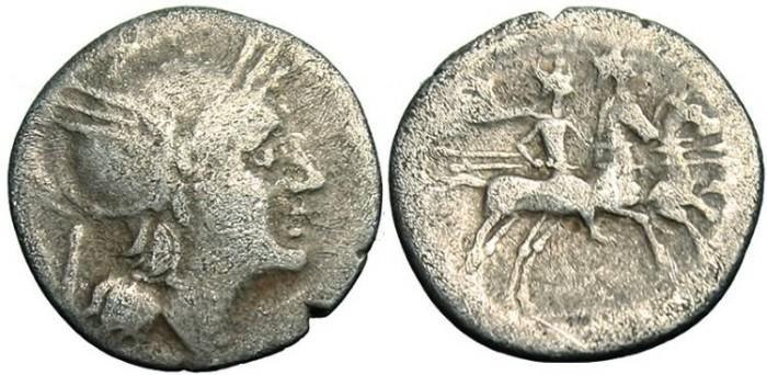 """Ancient Coins - Roman Republic Quinarius """"Roma Dioscuri Horses"""" Sydenham 174a, Crawford 85/1b"""