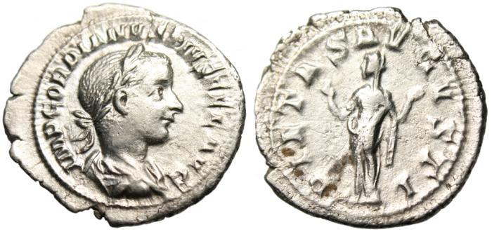 """Ancient Coins - Gordian III Silver AR Denarius """"Pietas"""" RIC 129 Rome"""