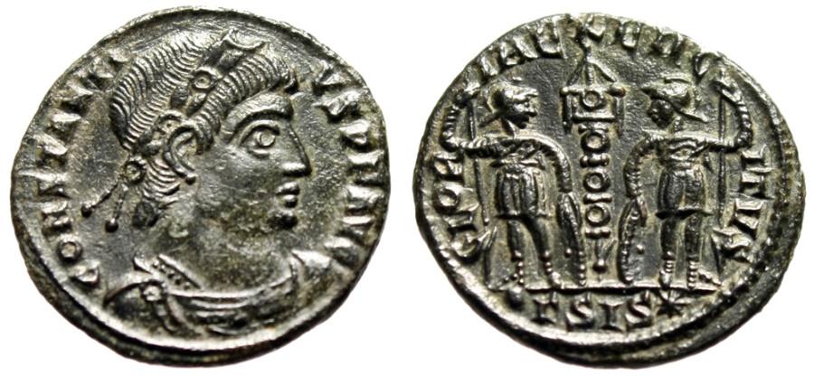 """Ancient Coins - Constantius II """"GLORIA EXERCITVS Soldiers, Annulet Standard"""" Siscia RIC 80 Rare"""