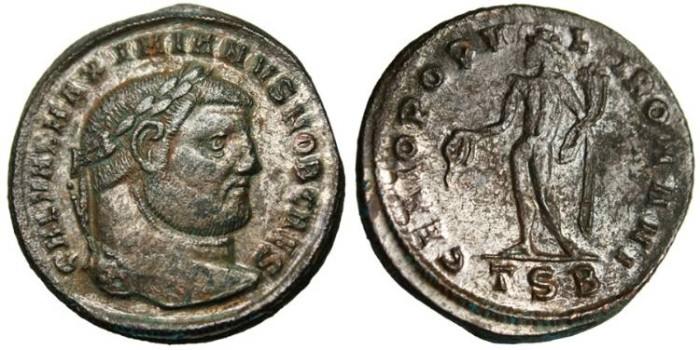 """Ancient Coins - Galerius Caesar, AE Follis """"Genius"""" Thessalonica TSB RIC 20b VF"""