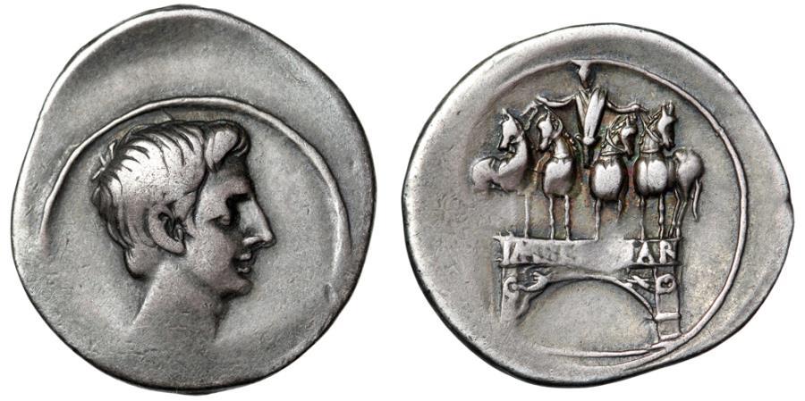 "Ancient Coins - Octavian (Augustus) AR Denarius ""Actian Arch, arcus Octaniani"" RIC 267 nVF"