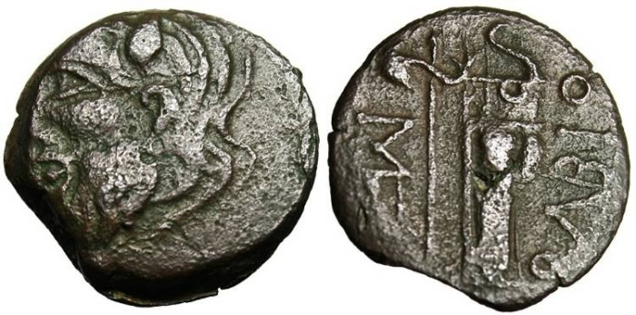 "Ancient Coins - Thrace, Olbia AE19 ""Borythenes, Axe-scepter & Bowcase"" Scarce"