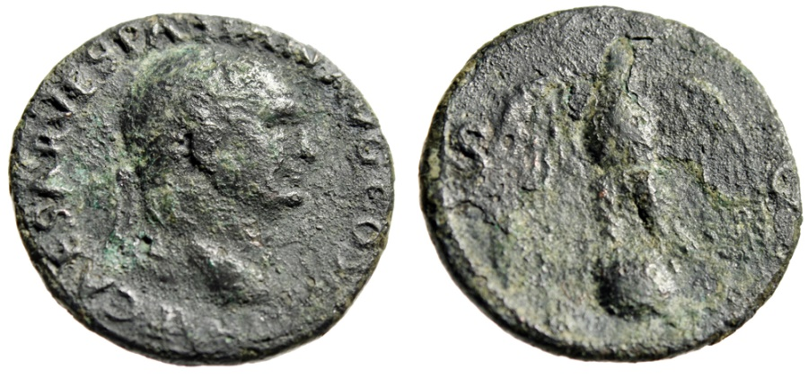"""Ancient Coins - Titus AE As """"Eagle Standing on Globe SC"""" Rome 72 AD RIC 450 Rare"""