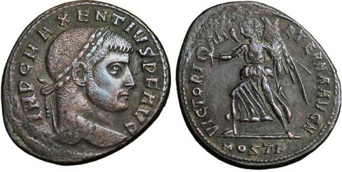 "Ancient Coins - Maxentius, AE Follis ""Victory Advancing Left"" Ostia VF RIC 54 Scarce"