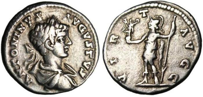 """Ancient Coins - Caracalla, AR Denarius 'Virtus"""" Laodicea RIC 354 gF 199 AD"""