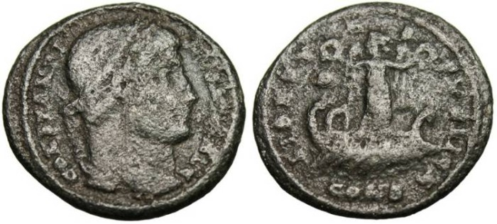 """Ancient Coins - Constantine I The Great, AE3 """"LIBERTAS PVBLICA Victory on Galley"""" Constantinople Rare RIC 25"""