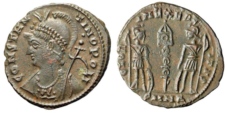 """Ancient Coins - Constantinople City Commemorative """"Soldiers' RIC 206 Very Rare Nicomedia nEF"""