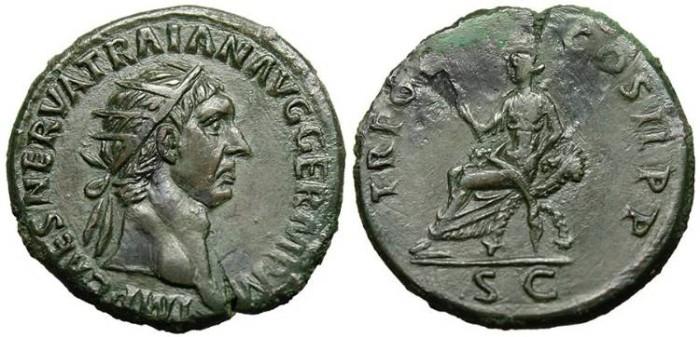 "Ancient Coins - Trajan, AE Dupondius ""Abundantia"" Rome RIC 382 EF"