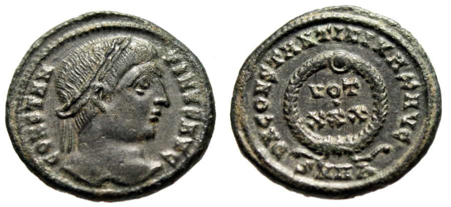 """Ancient Coins - Constantine I The Great AE3 """"Wreath, VOT XXX"""" Heraclea Mint RIC 69 Good VF"""